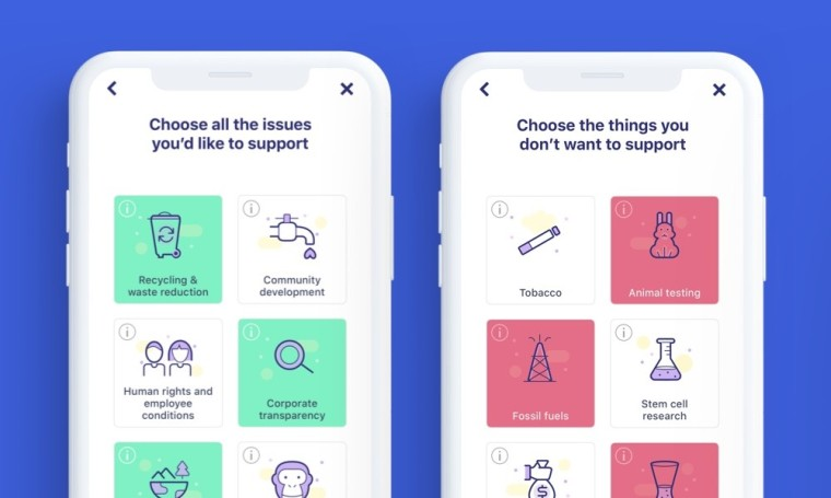 Goodments ethical investment app user interface